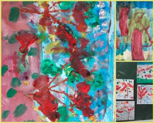 pictură cu frunze